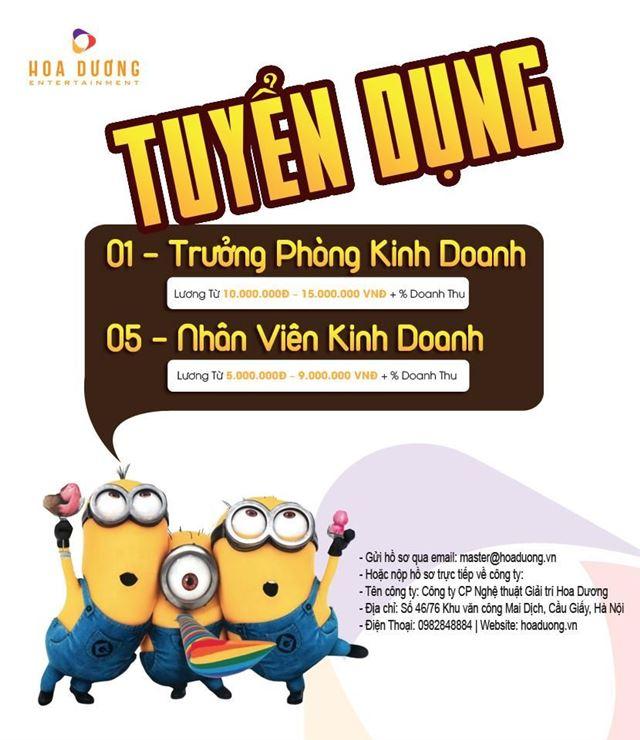 HOA DƯƠNG ENTERTAINMENT TUYỂN DỤNG TRƯỞNG PHÒNG KINH DOANH